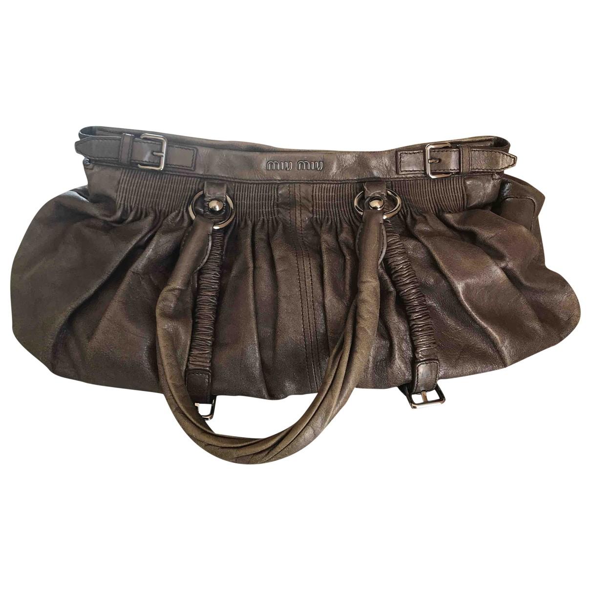 Miu Miu \N Anthracite Leather handbag for Women \N
