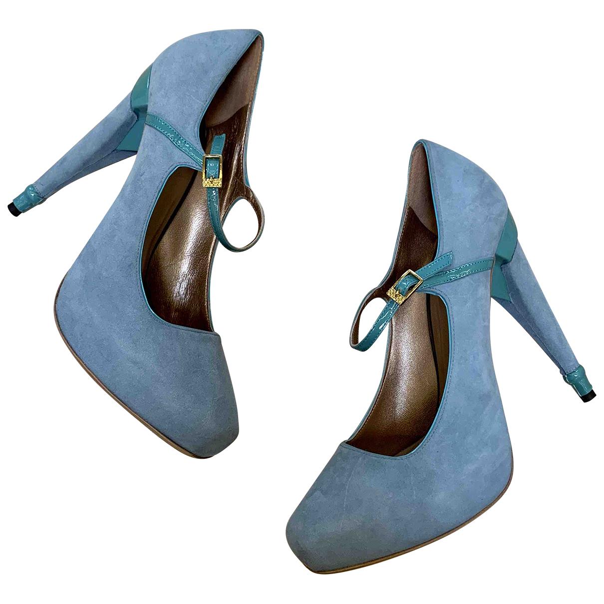 Just Cavalli N Turquoise Suede Heels for Women 40 EU