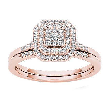 Womens 1/4 CT. T.W. Genuine White Diamond 10K Rose Gold Bridal Set, 9 , No Color Family