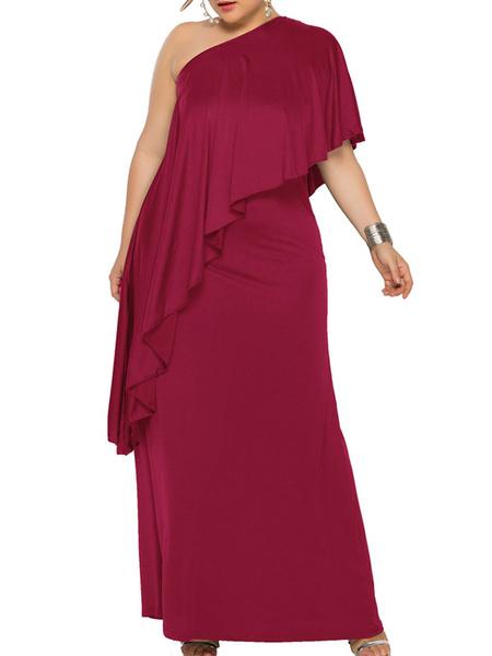 Milanoo Elegent Plus Size Dress Solid Skew Collar Ruffles Party Dress