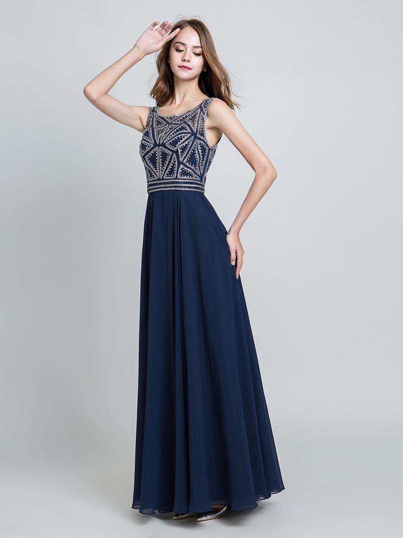 Ericdress Beading Floor-Length Sleeveless Prom Dress