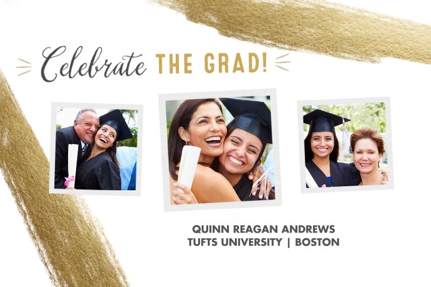 Graduation 12x18 Adhesive Poster, Home Décor -2018 Celebrate The Grad Gold Brush