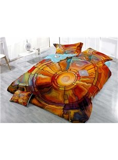 Novelty Abstract Pattern Wear-resistant Breathable High Quality 60s Cotton 4-Piece 3D Bedding Sets
