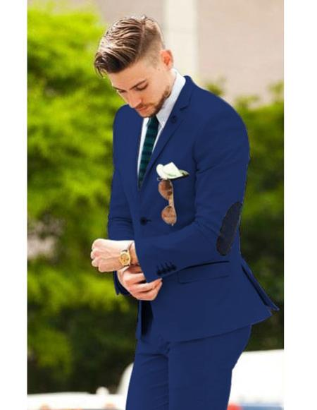 Mens Navy Blue suit with elbow patches (Slim Fit or Regular fit)