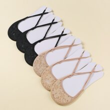 6pairs Floral Embroidered Mesh Socks