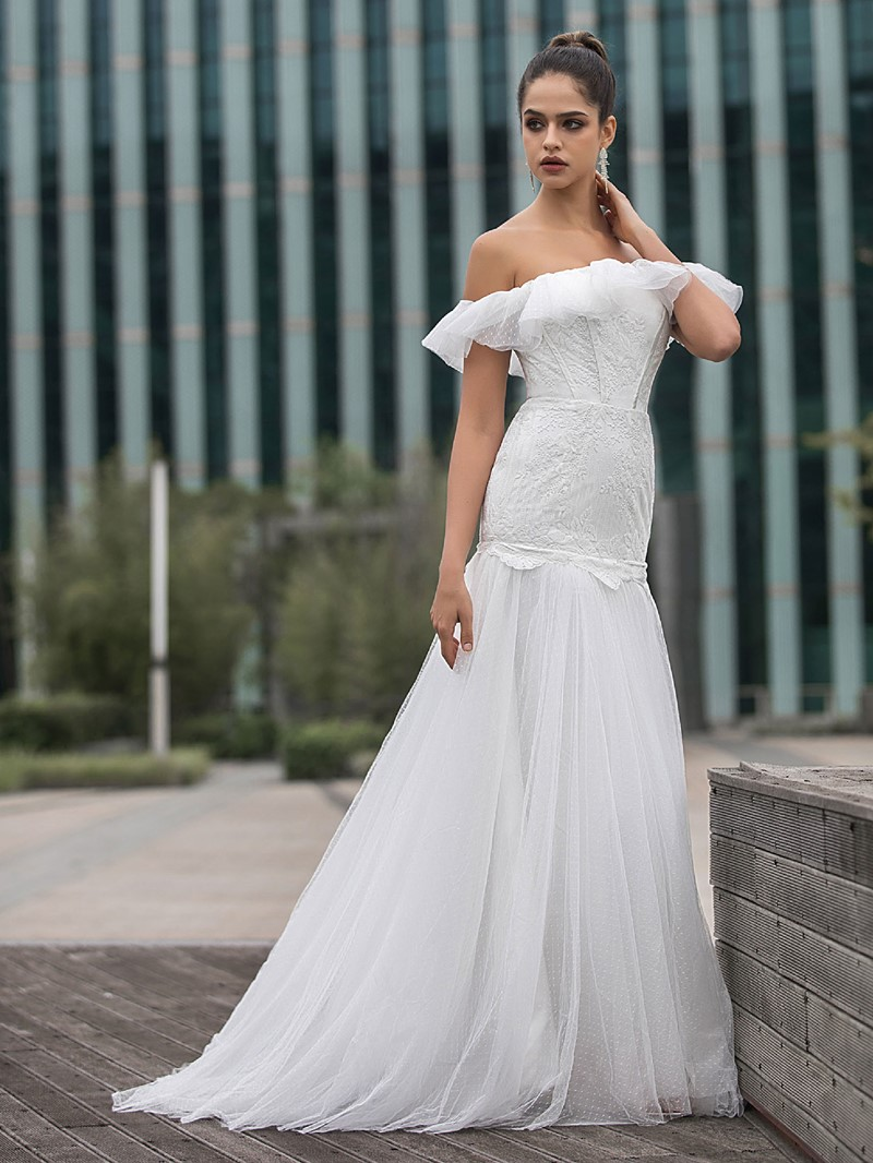 Ericdress Ruffles Strapless Mermaid Church Wedding Dress 2020