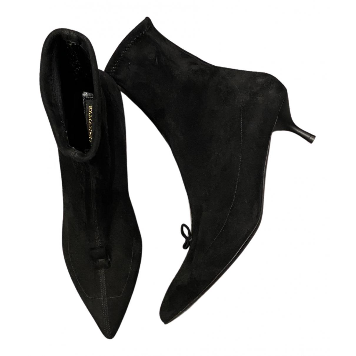 Ermanno Scervino - Boots   pour femme en suede - noir