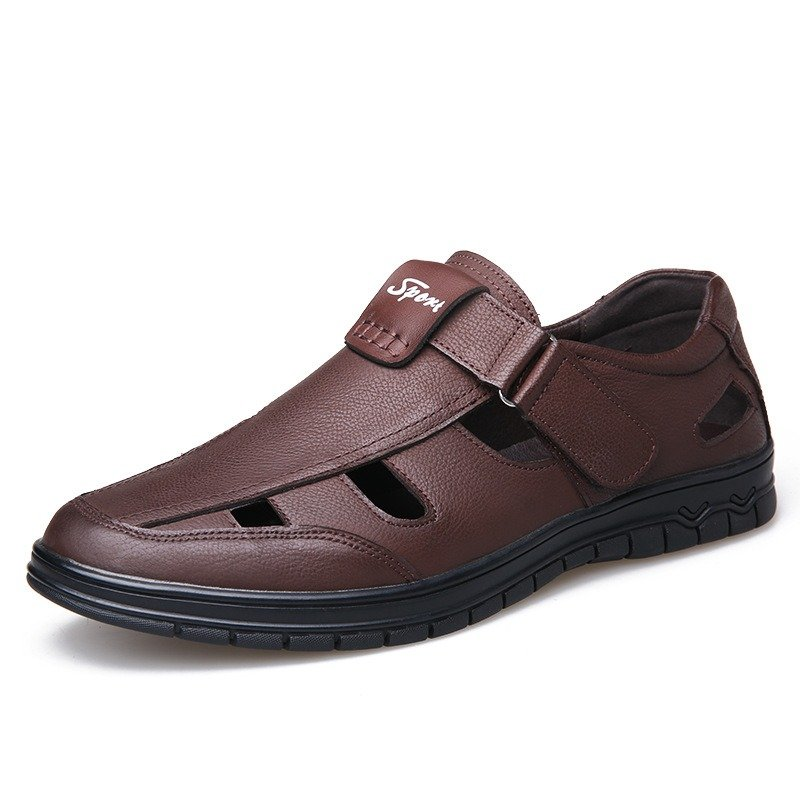 Men Hollow Out Comfy Soft Hook Loop Genuine Cow Leather Sandals