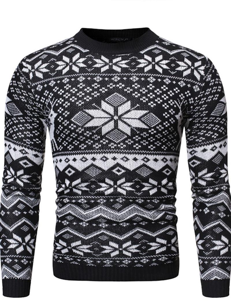 Ericdress Round Neck Geometric Standard Fall Casual Sweater