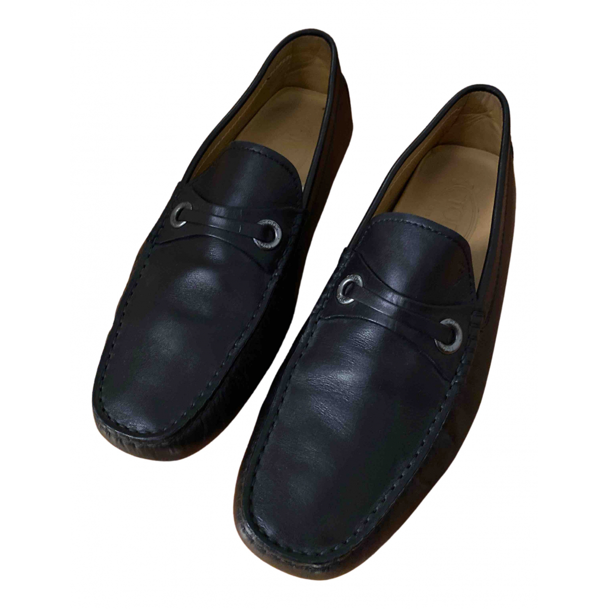 Tod's N Black Leather Flats for Men 7 US