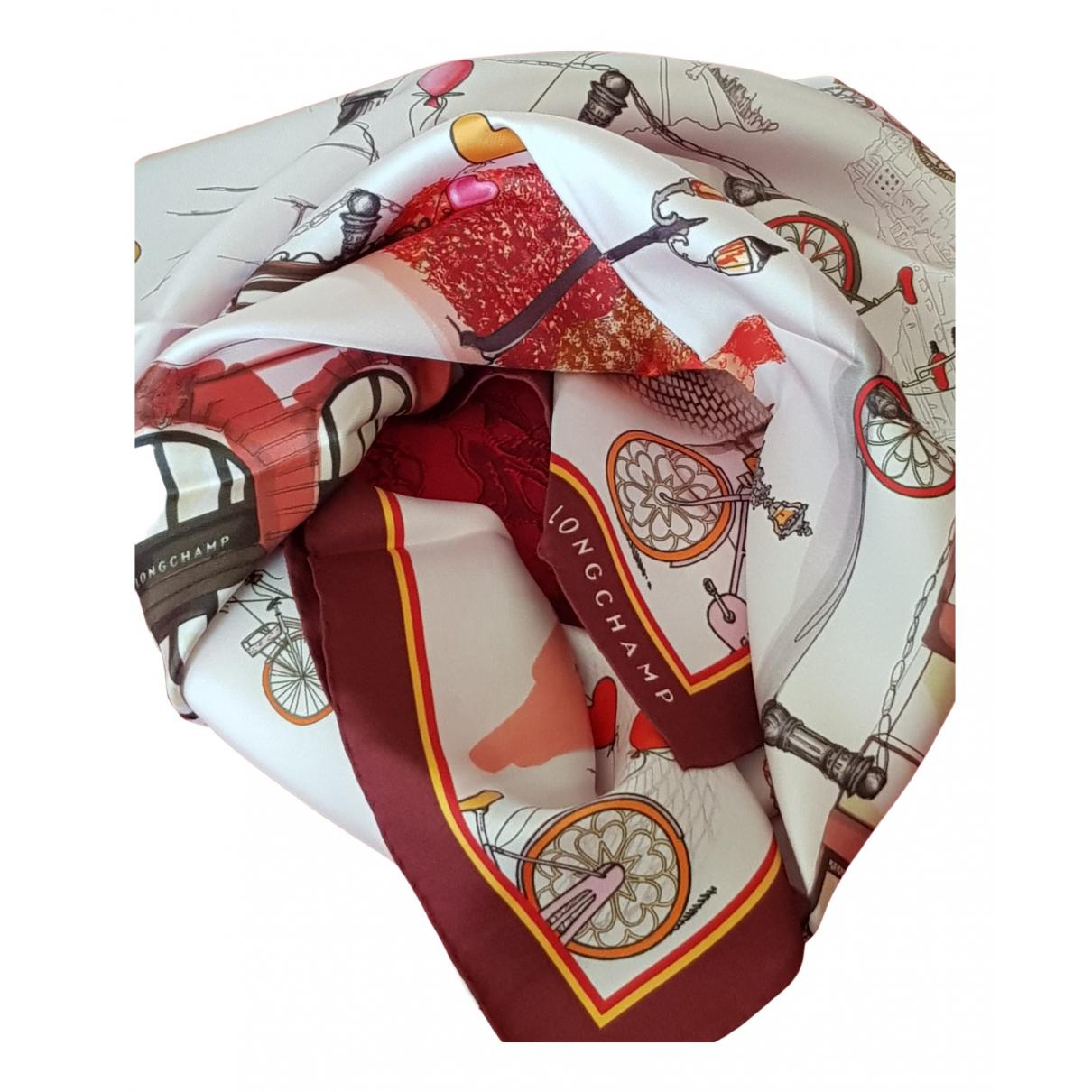 Longchamp - Carre   pour femme en soie - bordeaux