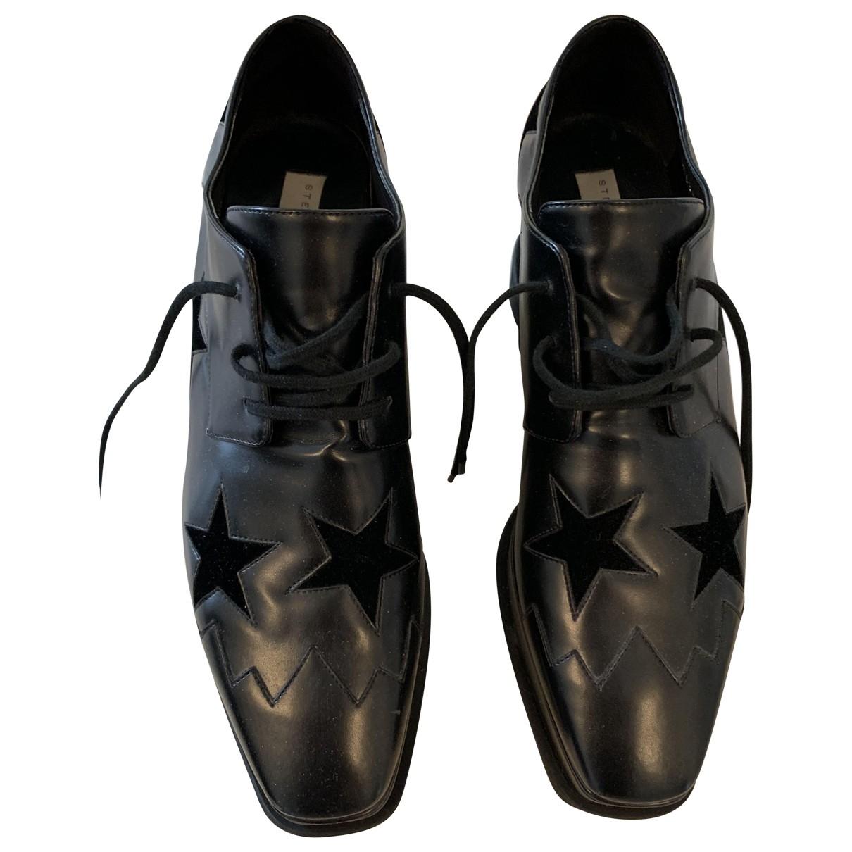 Stella Mccartney Elyse Black Leather Lace ups for Women 40 EU