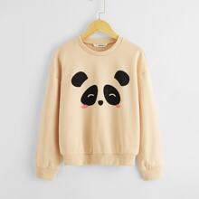 Girls Panda Print Drop Shoulder Pullover