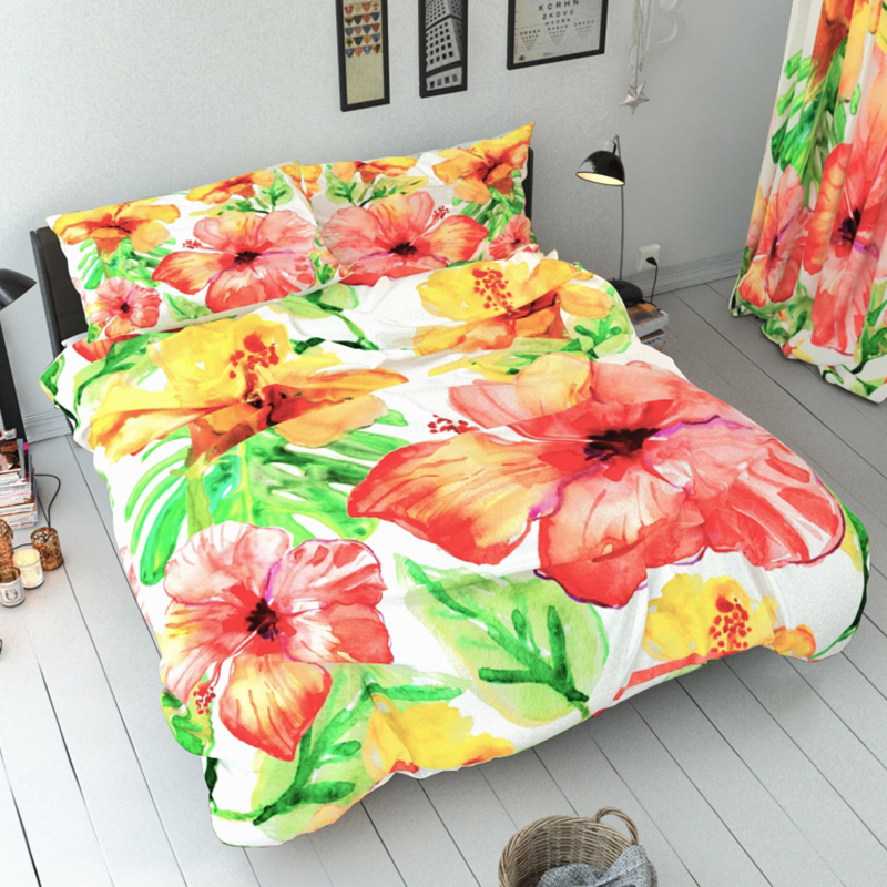 Floral Reactive Printing Three-Piece Set Duvet Cover Set Polyester Bedding Sets