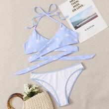 Star Crisscross Warp Bikini Swimsuit
