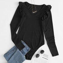 V-neck Ruffle Trim Rib-knit Tee Bodysuit