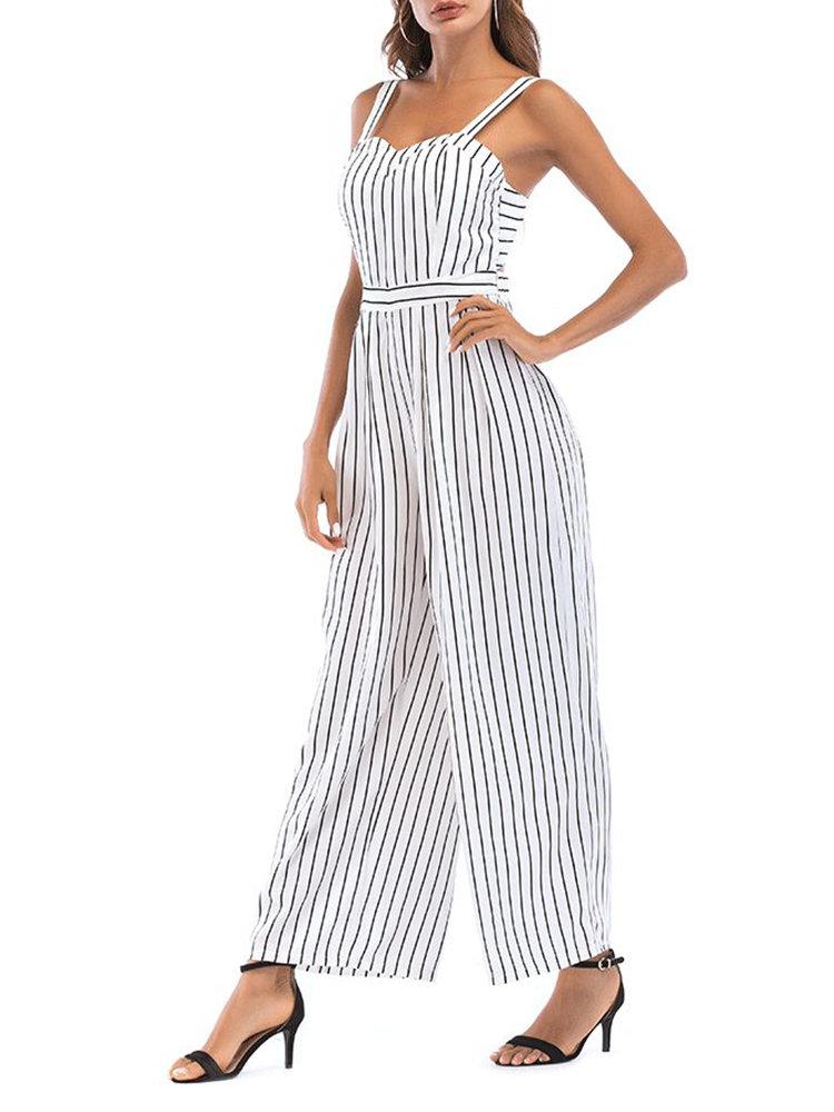 Sexy Backless Stripe High Waist Long Jumpsuits