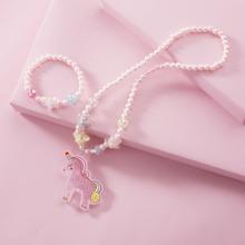 1 pieza collar de niñitas con cuenta colgante de unicornio con 1 pieza pulsera