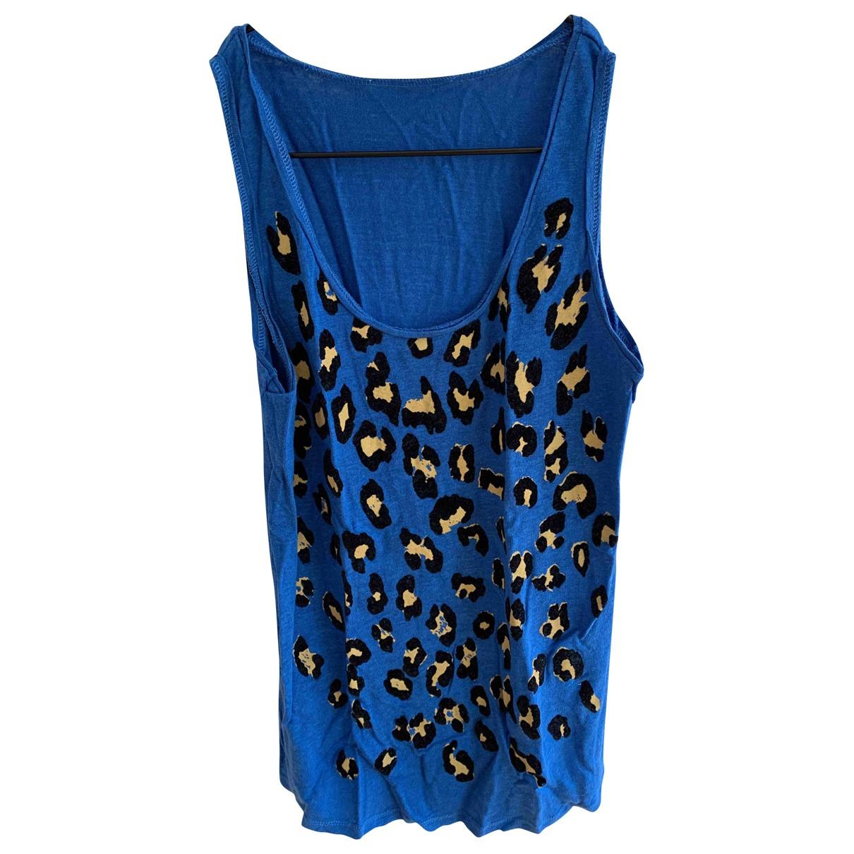 Sandro - Top   pour femme en lin - bleu