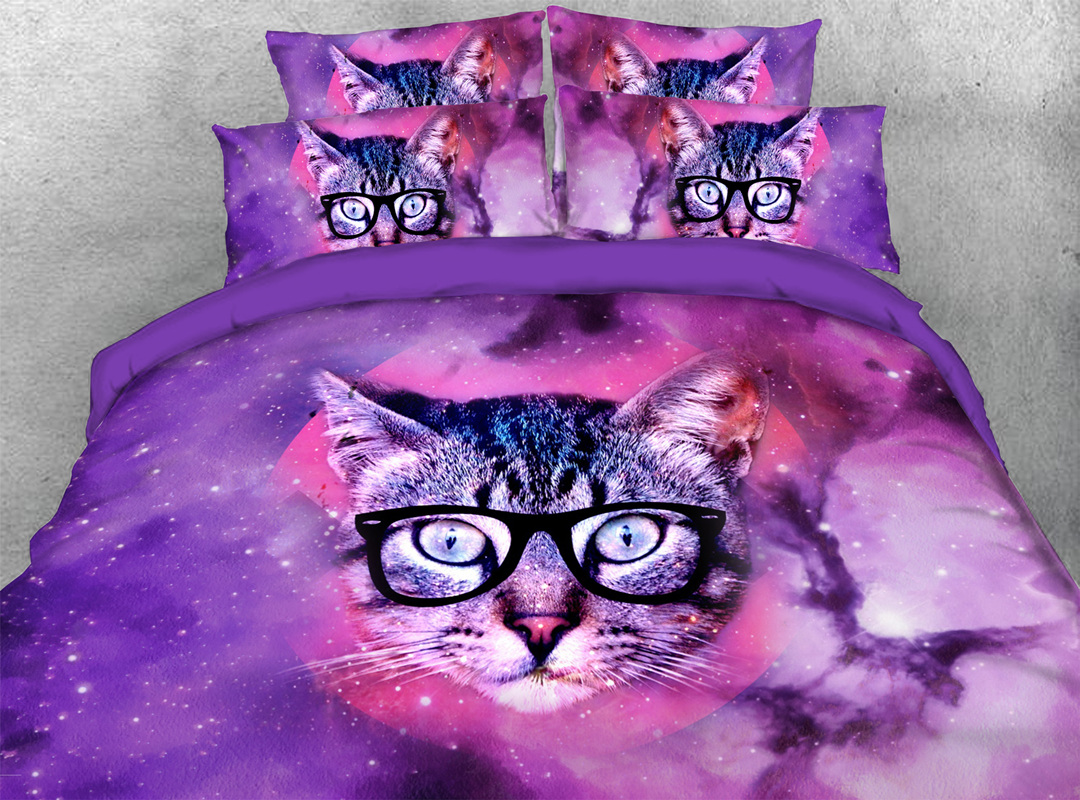 3D Cat 5-Piece Lightweight Galaxy Comforter Set Zipper Ties Colorfast/Wear-resistant/Skin-friendly Bedding Sets