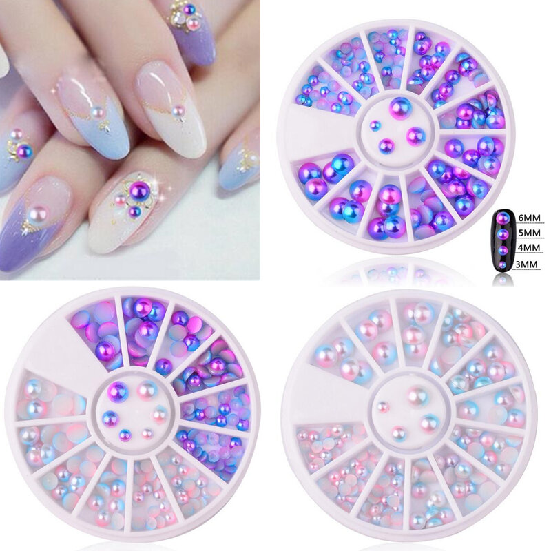 Mix Size Pearl Nail Art Decoration Mermaid Gradient Symphony Charms Beads Wheel 3D Tips Jewelry Mani