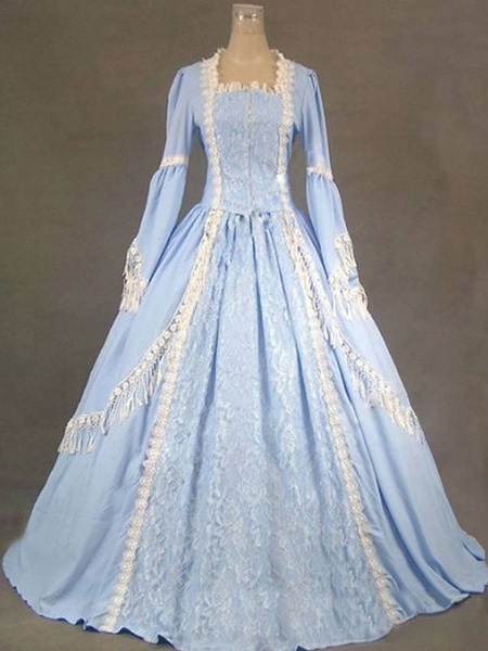 Milanoo Victorian Retro Costumes Women Ruffles Lace Marie Antoinette Costume Dress Blue Victorian era Style Vintage Clothing
