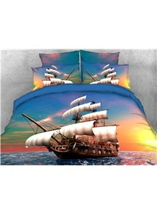 Sailing Ship Maritime Theme Sunset View Printed 4-Piece 3D Bedding Sets/Duvet Covers