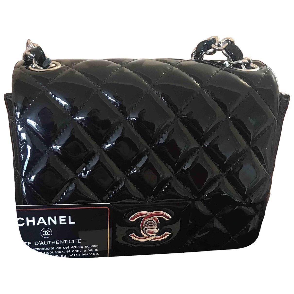 Chanel - Sac a main Timeless/Classique pour femme en cuir verni - noir
