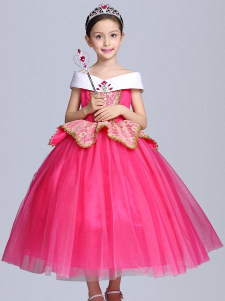 Milanoo Princess Aurora Costume Halloween Kids Cosplay Dress Sleeping Beauty Disney Rose Little Girls Dresses