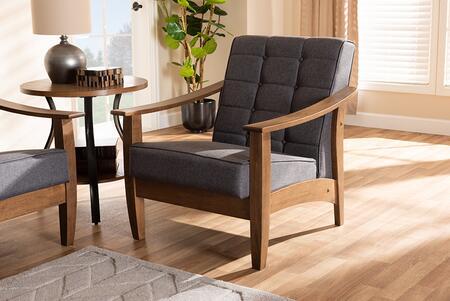 Select SW5506GreyWalnutCC Baxton Studio Larsen Mid-Century Modern Gray Fabric Upholstered Wood Lounge Chair 30.1