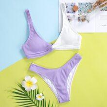 Two Tone Rib Twist High Cut Bikini Swimsuit