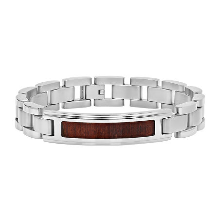 Mens Stainless Steel Inlay ID Bracelet, One Size , No Color Family