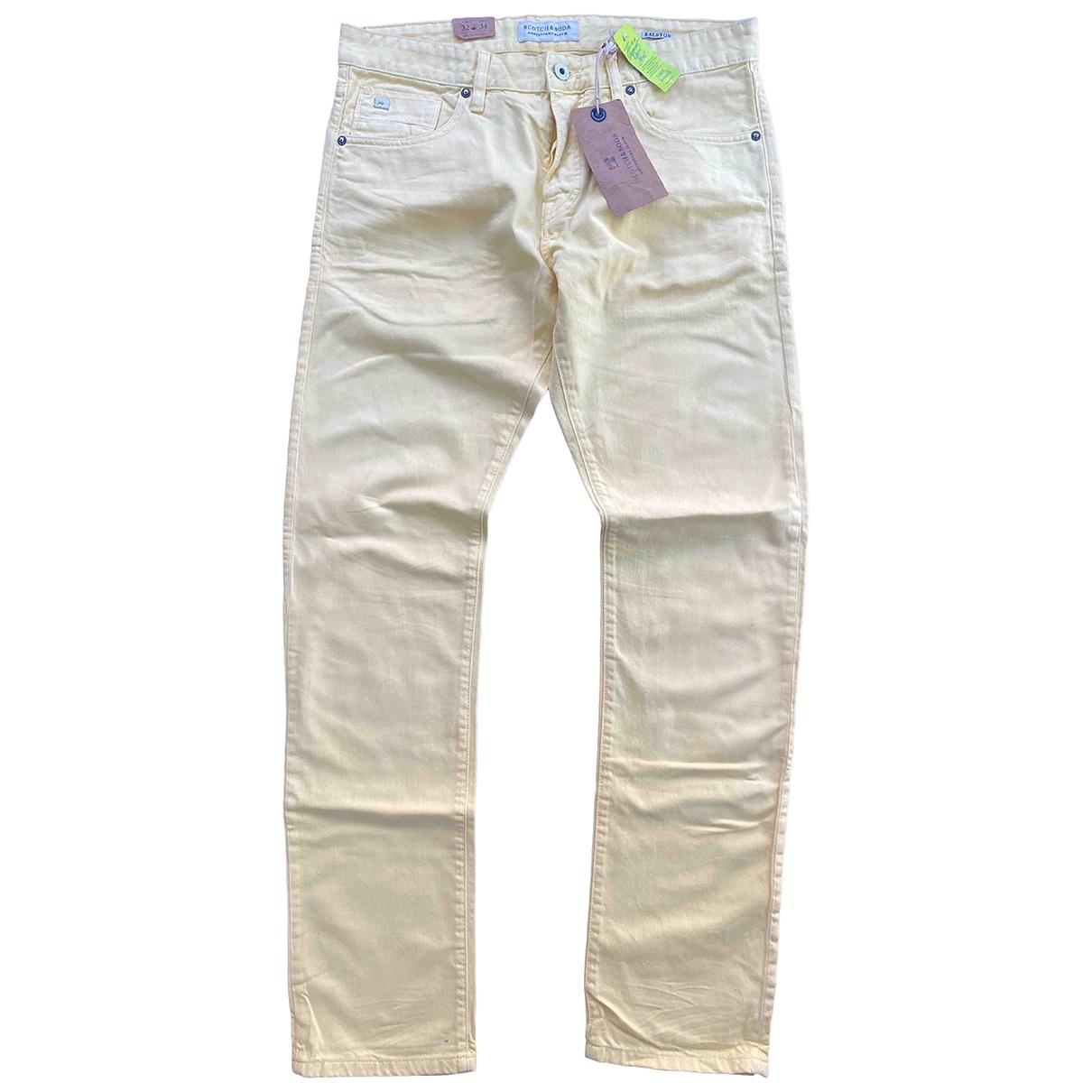 Scotch & Soda \N Yellow Cotton Trousers for Men 32 UK - US