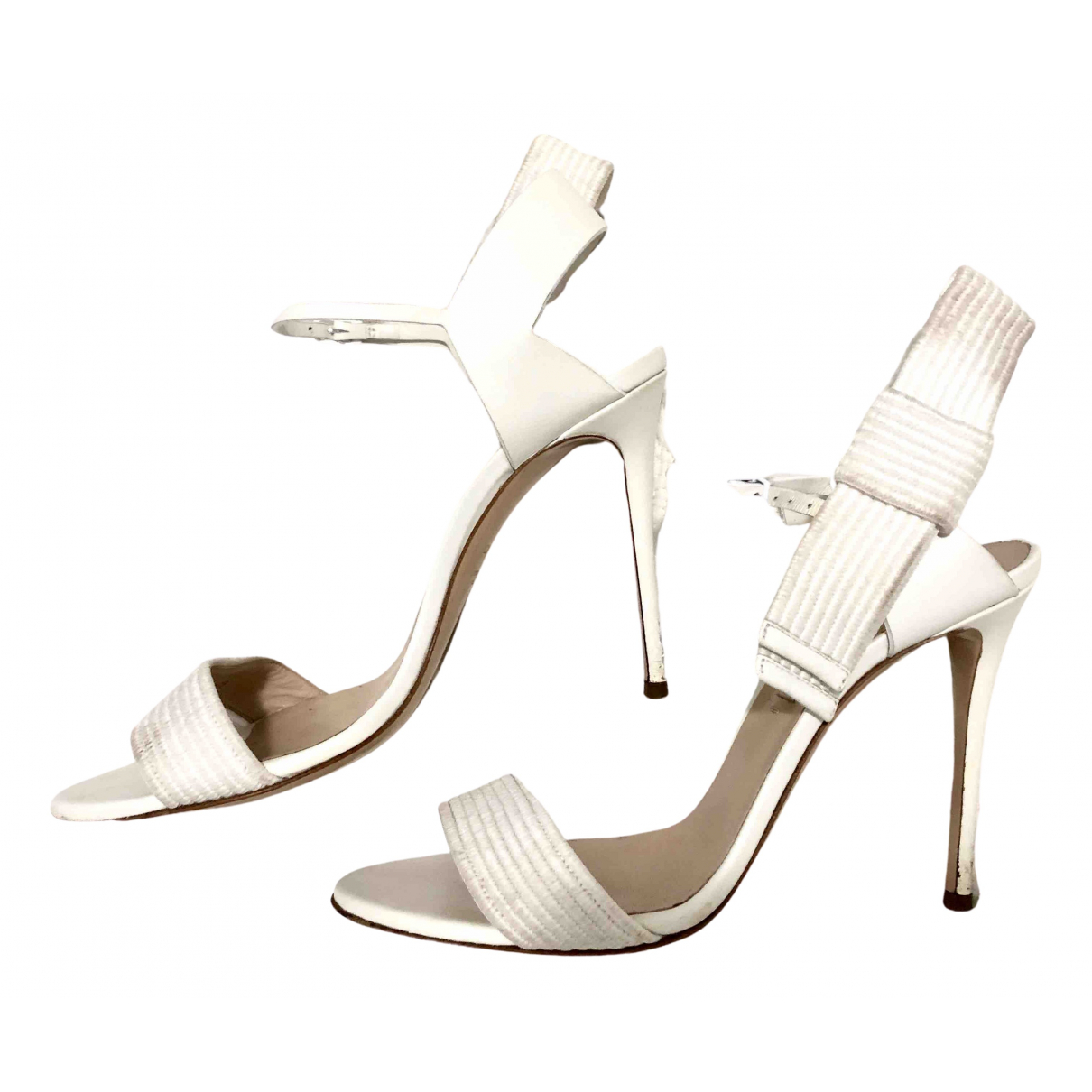 Casadei N White Leather Heels for Women 38 EU
