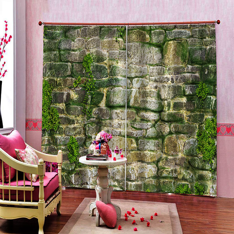 3D Brick Wall and Moss Printed Blackout Decoration 2 Panels Curtain Drapes for Living Room No Pilling No Fading No off-lining
