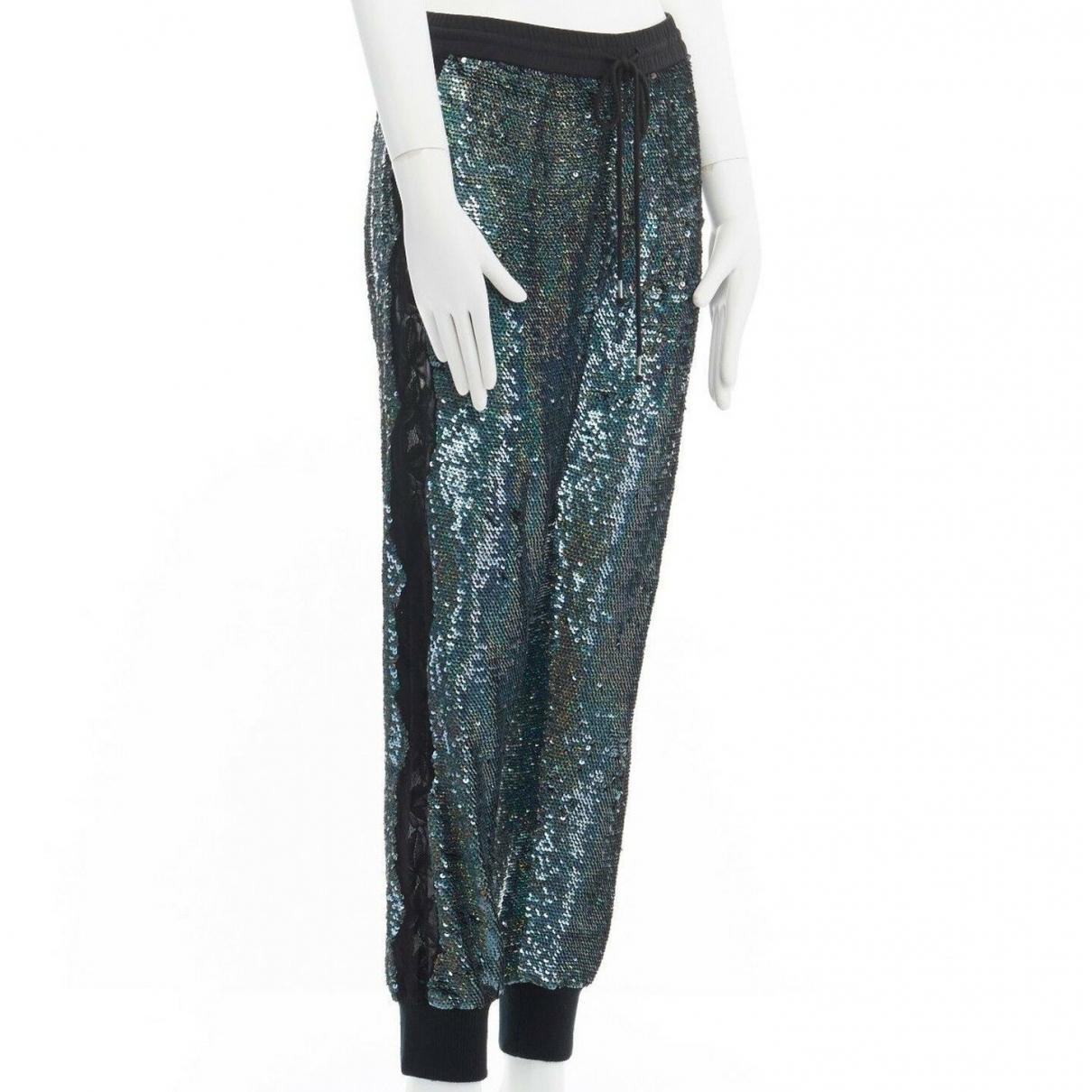 Ashish \N Blue Cotton Trousers for Women S International