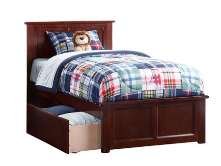 Madison Collection AR8626114 Twin Size Platform Bed with 2 Urban Bed Drawers  Matching Foot Board  Hardwood Slat Kit and Eco-Friendly Solid Hardwood