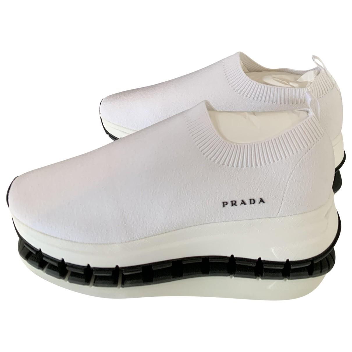 Prada N White Cloth Trainers for Women 39 EU