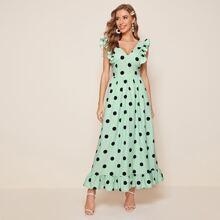Kleid mit V Kragen, Raffung Armloch und Punkten Muster