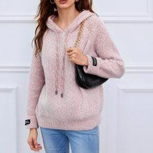 Pullover mit Raglanaermeln, Kordelzug, Kapuze und Space Dye