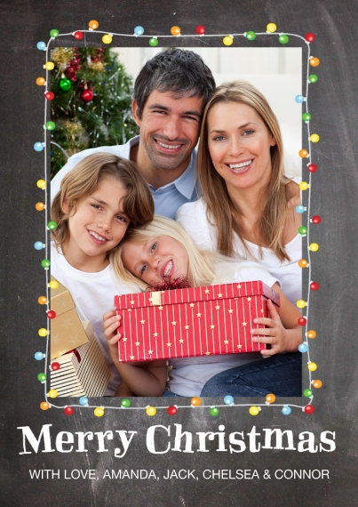 Christmas Photo Cards 5x7 Cards, Premium Cardstock 120lb with Elegant Corners, Card & Stationery -Christmas Lights Frame