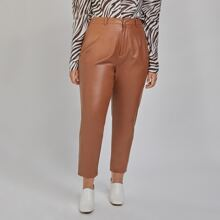 Einfarbige PU Leder Hose