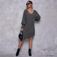 Vestido tejido con textura de manga murcielago