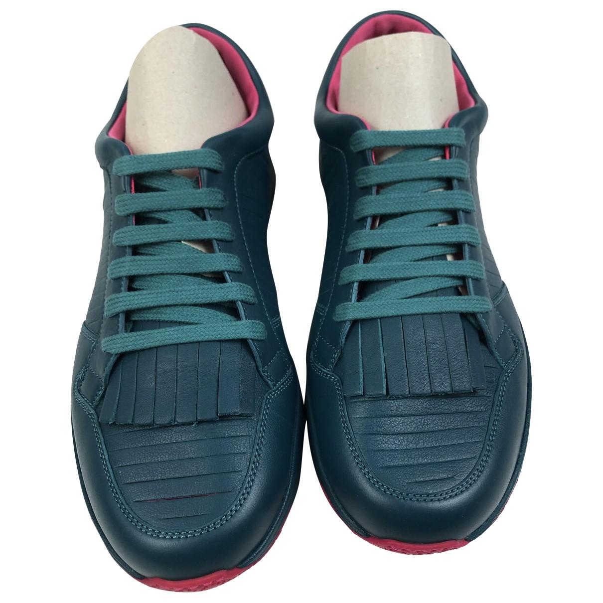 Gucci - Baskets   pour homme en cuir - turquoise