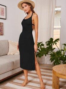 Backless Split Thigh Dress