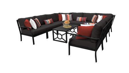 MADISON-11a-BLACK Kathy Ireland Homes and Gardens Madison Ave. 11 Piece Aluminum Patio Set 11a with 1 Set of Snow and 1 Set of Onyx