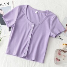 Button Through Fitted Crop Tee