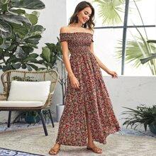Off Shoulder Shirred Bodice Split Hem Ditsy Floral Dress