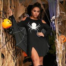 Plus Cold Shoulder Spider Print Batwing Sleeve Dress