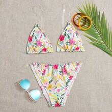 Floral Triangle Bikini Swimsuit